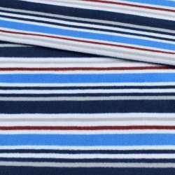 Фліс білий в синю, сіру, синю смужку ш.185