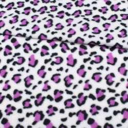 Флис белый, черно-фиолетовый принт леопард ш.185