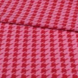 Флис розовый в красную гусиную лапку ш.190