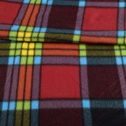 Фліс в червону, помаранчеву, жовту, салатовий, блакитну клітку, ш.155
