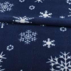 Фліс синій в білі сніжинки, ш.165