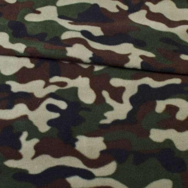 Флис зелено-черно-коричневый камуфляж ш.160