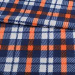 Фліс синій в білу, помаранчеву клітку, ш.160