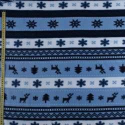 Фліс в чорно блакитні білі смужки з оленями і сніжинками ш.170