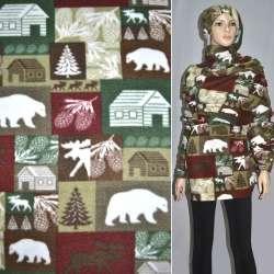 Флис в коричнево-зелено-бордовые квадраты с белыми медведями и шишками ш.160