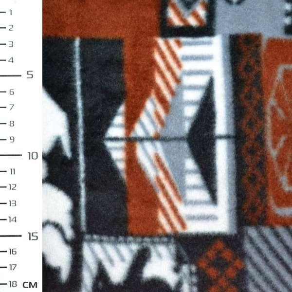 Флис серый в коричнево белые квадраты с оленями и пингвинами ш.160