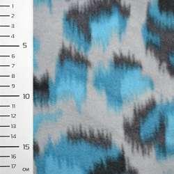 Флис серый светлый с бирюзово-серой абстракцией ш.160
