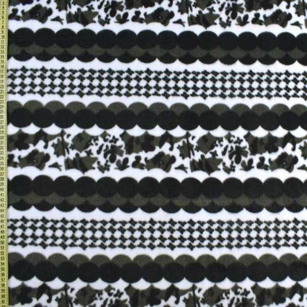 Фліс білий в чорно-сірі кола, ш.170