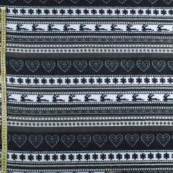 Флис в черно-серые полоски с оленями и снежинками ш.170