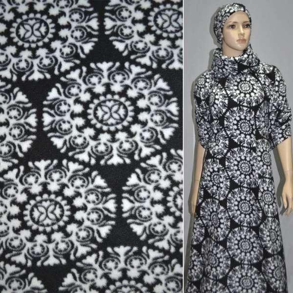 Фліс чорний з білими сніжинками ш.165