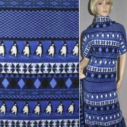 Фліс в синьо-білу смужку з пінгвінами ш.160