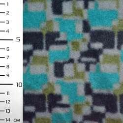 Фліс бірюзовий в сіро-чорний геометричний принт ш.160