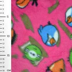 Флис ярко розовый Аngry Birds ш.160