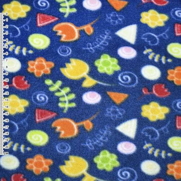 Флис синий с желто оранжевыми цветами ш.160