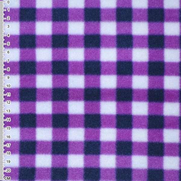 фліс білий в бузково-чорні квадрати шир. 160 см.