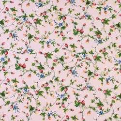 Коттон рожевий в червоні полунички і білі квіти, ш.146