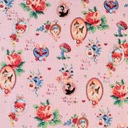 Коттон рожевий в клітку з медальйонами і трояндами, ш.146