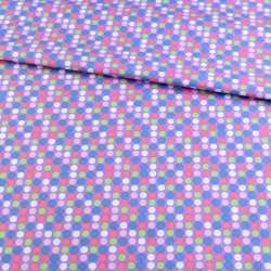 Коттон бузковий в синій, рожевий, білий горох, ш.145