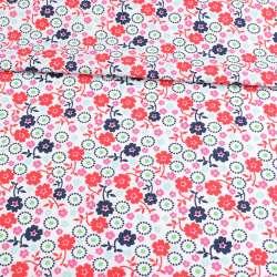 Коттон білий, рожеві, червоні, сині квіти, ш.146