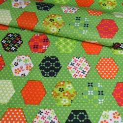 Коттон зелений, помаранчеві, сині, білі шестикутники печворк, ш.148