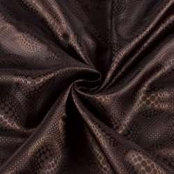 Віскоза підкладкова коричнева в візерункові кола, ш.140