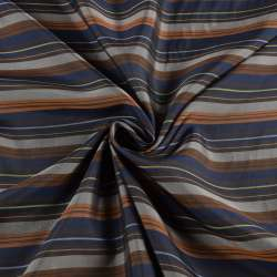 Віскоза підкладкова синя в коричневу, бежеву смужку, ш.145