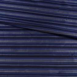 Віскоза підкладкова синя в чорну, сіру смужку, ш.142