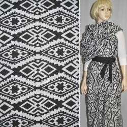 Гобелен чорний з білим геометричний. малюнком ш.150