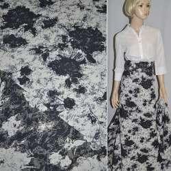 Гобелен білий з темно-синіми квітами ш.155