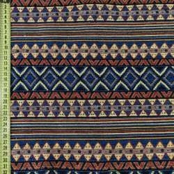Гобелен синий в красно-желтый орнамент, ш.150