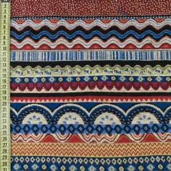 Гобелен в сині + червоно-бежеві хвилі з орнаментом, ш.150