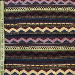 Гобелен в синьо-рожеві, червоно-жовті зигзаги ш.150