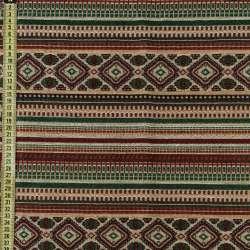 Гобелен в червоно-бежевий + зелений орнамент, ш.150