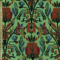 Гобелен зелений з червоно-синіми квітами, ш.150