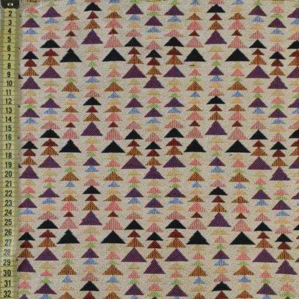 Гобелен бежевый в цветные треугольники ш.150
