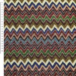Гобелен з різнобарвним зелено-синім, бордово-бежевим зигзагом ш.153