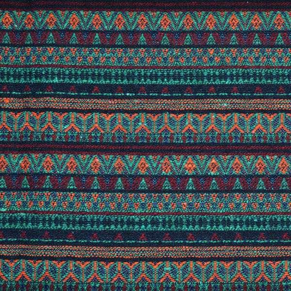 Гобелен в бордово-бирюзовые полоски с оранжевым орнаментом ш.148