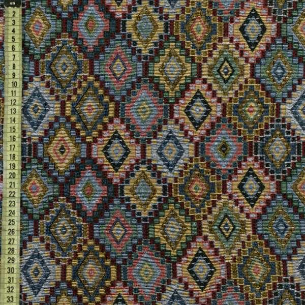 Гобелен с бежево-зелеными +розово-голубыми ромбами ш.150