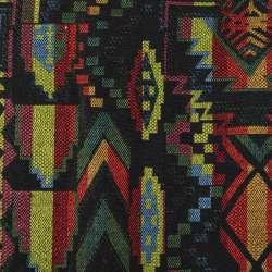 Гобелен черный в зелено-желто-бордовый геометрический узор ш.152