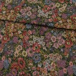 Гобелен в бузкові, блакитні, червоні квіти, ш.150
