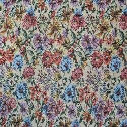 Гобелен бежевый светлый с бордово-голубыми цветами ш.150
