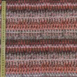 Гобелен сірий в оранжево-бежеві зигзаги ш.150