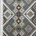 Гобелен в черно-белые ромбы с орнаментом ш.150