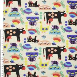 Деко-коттон песочный светлый с коровами и разными животными ш.150