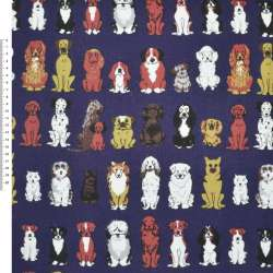 Деко-коттон синий с собаками ш.150