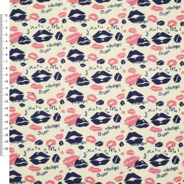 Деко-котон шампань з рожево-синіми губками ш.150