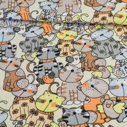 Деко-коттон коты на молочном фоне, ш.150
