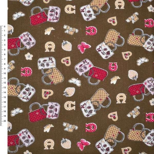 Деко-котон коричневий з сумочками ш.150