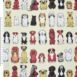 Деко-коттон кремовый с собаками ш.150