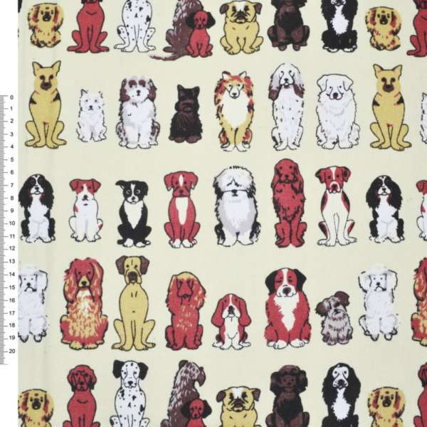 Деко-котон кремовий з собаками ш.150